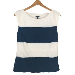 Ann Taylor Striped Pintuck Sleeveless Top Small